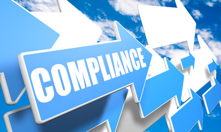 compliant: Compliance 3d render concept with blue and white arrows flying in a blue sky with clouds Stock Photo