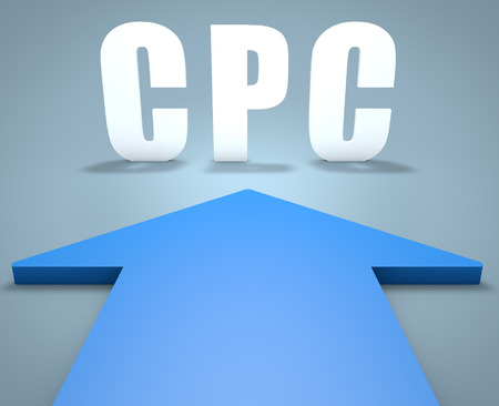 search engine marketing: CPC - Cost per Click - 3d render concept of blue arrow pointing to text. Stock Photo
