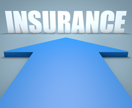 accident rate: Insurance - 3d render concept of blue arrow pointing to text. Stock Photo