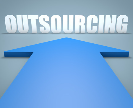 Outsourcing - 3d render concept of blue arrow pointing to text. photo