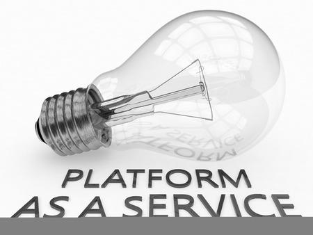 Platform as a Service - lightbulb on white background with text under it. 3d render illustration. illustration