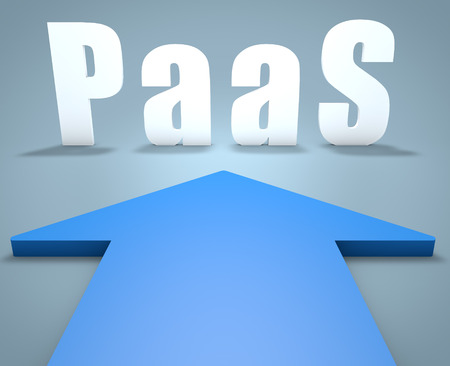 PaaS - Platform as a Service - 3d render concept of blue arrow pointing to text. photo