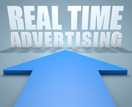 online bidding: Real Time Advertising - 3d render concept of blue arrow pointing to text.