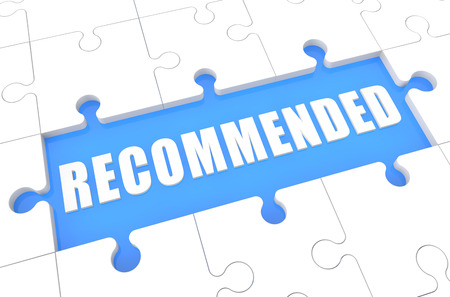 recommendations: Recommended - puzzle 3d render illustration with word on blue background