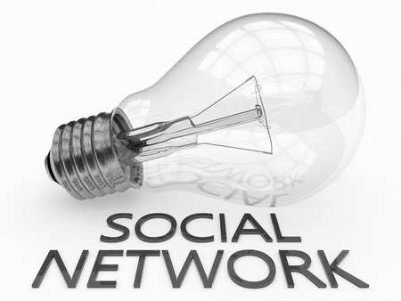 wikis: Social Network - lightbulb on white background with text under it. 3d render illustration.