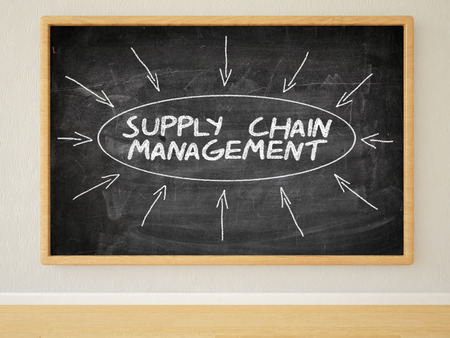 variance: Supply Chain Management 3d render illustration of text on black chalkboard in a room.