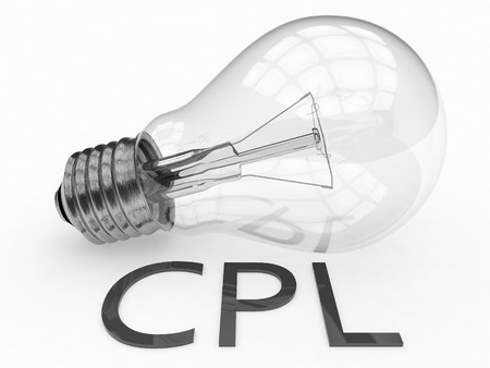 cpl: CPL - Cost per Lead - lightbulb on white background with text under it. 3d render illustration.