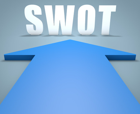 weaknesses: SWOT for strengths, weaknesses, opportunities and threats - 3d render concept of blue arrow pointing to text.