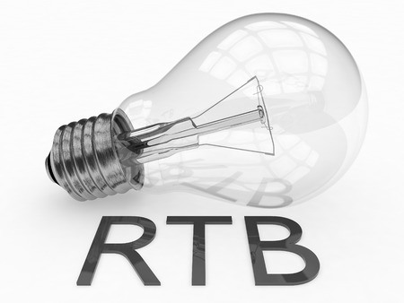 bidding: RTB - Real Time Bidding - lightbulb on white background with text under it. 3d render illustration.