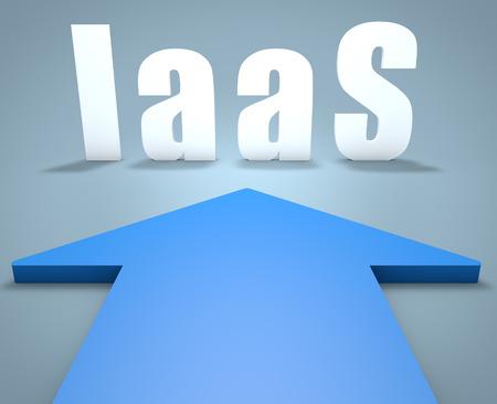 par�?s: IaaS - Infraestructura como Servicio - 3d concepto de la flecha azul que apunta a texto. Foto de archivo