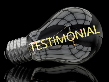 affirmations: Testimonial - lightbulb on black background with text in it. 3d render illustration.