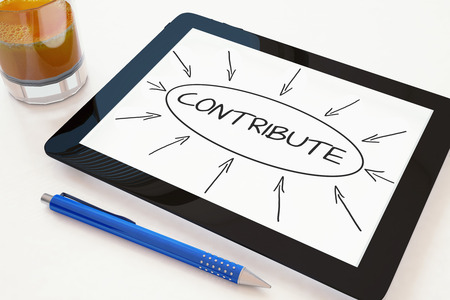 contribute: Contribute - text concept on a mobile tablet computer on a desk - 3d render illustration. Stock Photo