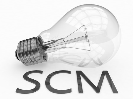 scm: SCM - Supply Chain Management - lightbulb on white background with text under it. 3d render illustration.