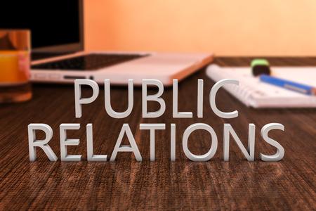 Relations publiques - lettres sur le bureau en bois avec un ordinateur portable et un ordinateur portable. 3d render illustration. Banque d'images - 41351572