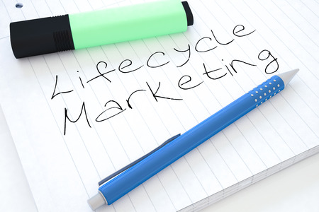 lifecycle: Lifecycle Marketing - handwritten text in a notebook on a desk - 3d render illustration.