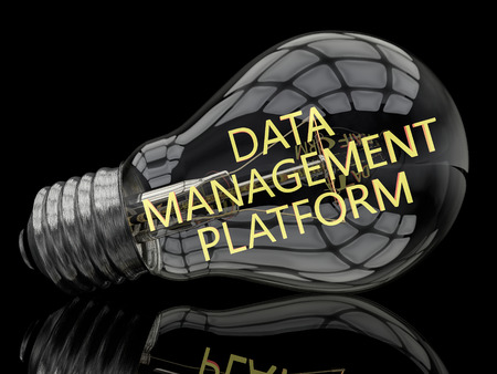 unify: Data Management Platform - lightbulb on black background with text in it. 3d render illustration. Stock Photo