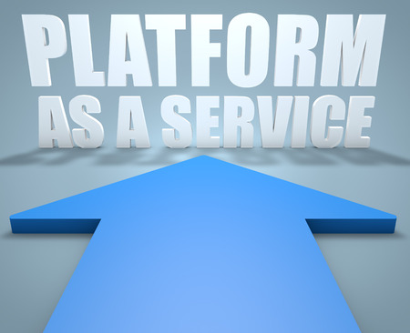 Platform as a Service - 3d render concept of blue arrow pointing to text. photo