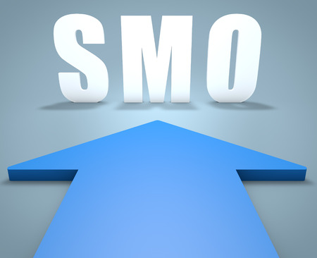 smo: SMO - Social Media Optimization - 3d render concept of blue arrow pointing to text.