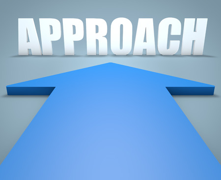 criteria: Approach - 3d render concept of blue arrow pointing to text.