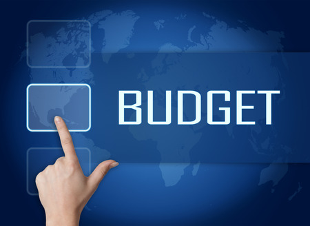 budgets: Budget concept with interface and world map on blue background Stock Photo