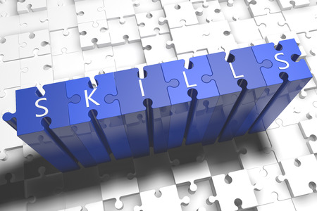 lead sled: Skills - puzzle 3d render illustration with block letters on blue jigsaw pieces