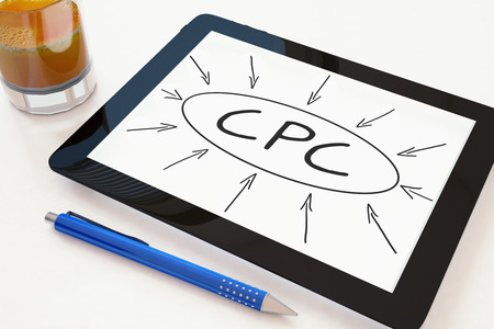 cpc: CPC - Cost per Click - text concept on a mobile tablet computer on a desk - 3d render illustration. Stock Photo