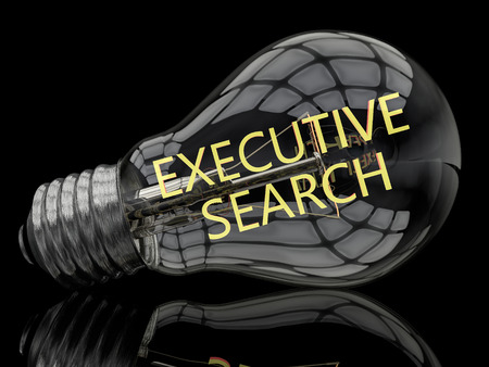executive search: Executive Search - lightbulb on black background with text in it. 3d render illustration. Stock Photo