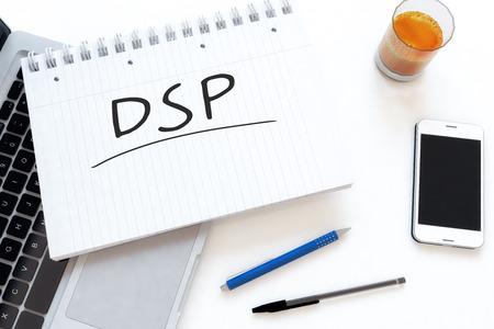 online bidding: DSP - Demand Side Platform - handwritten text in a notebook on a desk - 3d render illustration.