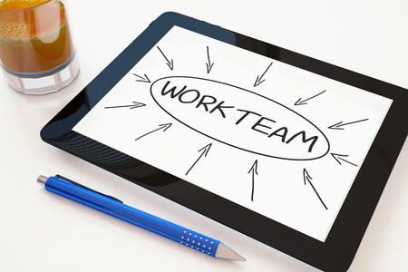 workteam: Workteam - text concept on a mobile tablet computer on a desk - 3d render illustration. Stock Photo