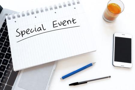 특별 이벤트 - 책상 -3d 렌더링 그림에 노트북에서 필기 텍스트.