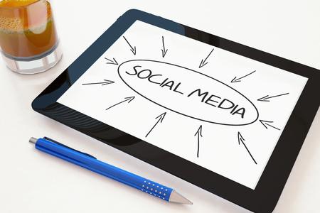 wikis: Social Media - text concept on a mobile tablet computer on a desk - 3d render illustration.