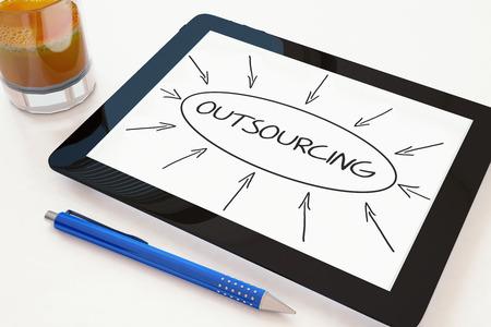 sourcing: Outsourcing - text concept on a mobile tablet computer on a desk - 3d render illustration.