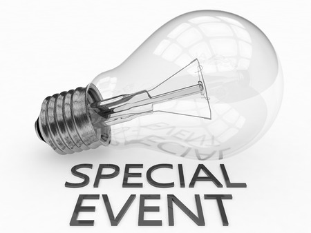 special event: Special Event - lightbulb on white background with text under it. 3d render illustration.