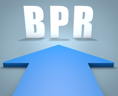 business process reengineering: BPR - Business Process Reengineering - 3d render concept of blue arrow pointing to text.