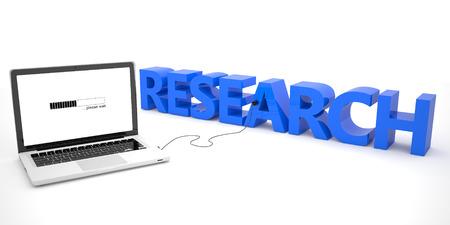 metodo cientifico: Investigación - ordenador portátil conectado a una palabra sobre fondo blanco. 3d ilustración.