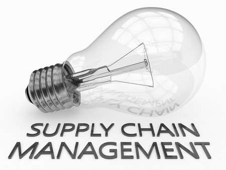 variance: Supply Chain Management - lightbulb on white background with text under it. 3d render illustration.