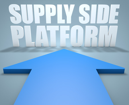 online bidding: Supply Side Platform - 3d render concept of blue arrow pointing to text.
