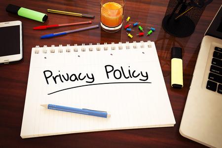 개인 정보 보호 정책 - 책상 -3d 렌더링 그림에 노트북에서 필기 텍스트.