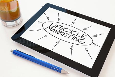 ciclo de vida: Ciclo de vida de Marketing - Concepto de texto en un equipo Tablet PC m�vil en un escritorio - 3d ilustraci�n. Foto de archivo