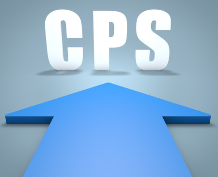 internet traffic: CPS - Cost per Sale - 3d render concept of blue arrow pointing to text.