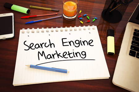 search results: Search Engine Marketing - handwritten text in a notebook on a desk - 3d render illustration. Stock Photo