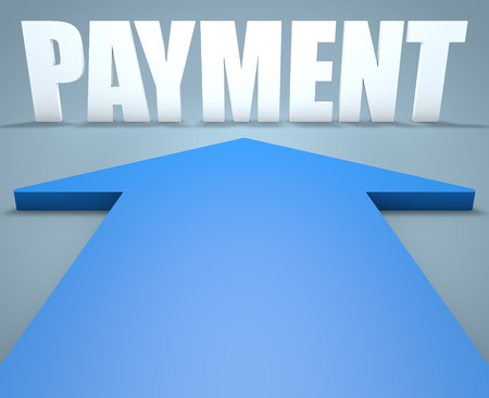blue arrow: Payment - 3d render concept of blue arrow pointing to text. Stock Photo