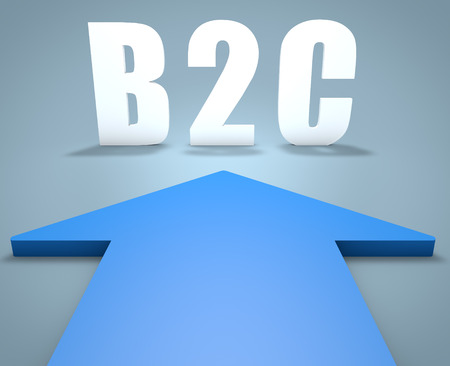 b2c: B2C - Business to Customer - 3d render concept of blue arrow pointing to text.