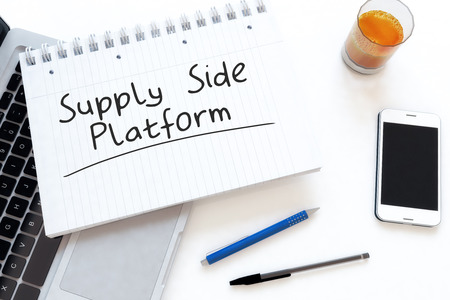 bidding: Supply Side Platform - handwritten text in a notebook on a desk - 3d render illustration.