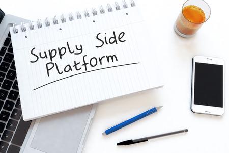 online bidding: Supply Side Platform - handwritten text in a notebook on a desk - 3d render illustration.