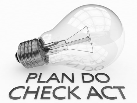 plan do check act: Plan Do Check Act - lightbulb on white background with text under it. 3d render illustration.