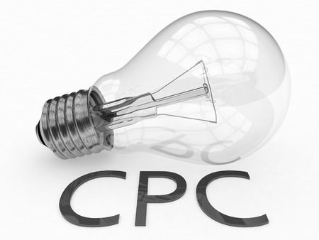cpc: CPC - Cost per Click - lightbulb on white background with text under it. 3d render illustration.
