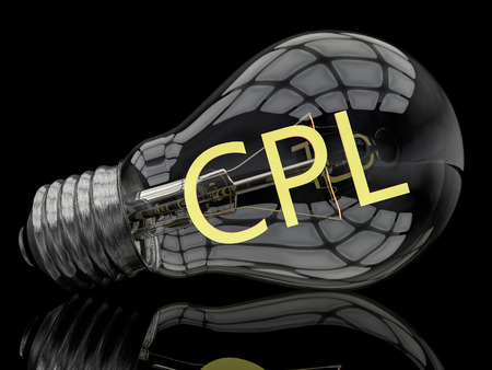 cpl: CPL - Cost per Lead - lightbulb on black background with text in it. 3d render illustration. Stock Photo