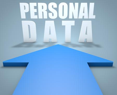 datos personales: Datos Personales - 3d concepto de la flecha azul que apunta a texto.