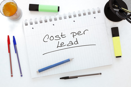 cpl: Cost per Lead - handwritten text in a notebook on a desk - 3d render illustration. Stock Photo
